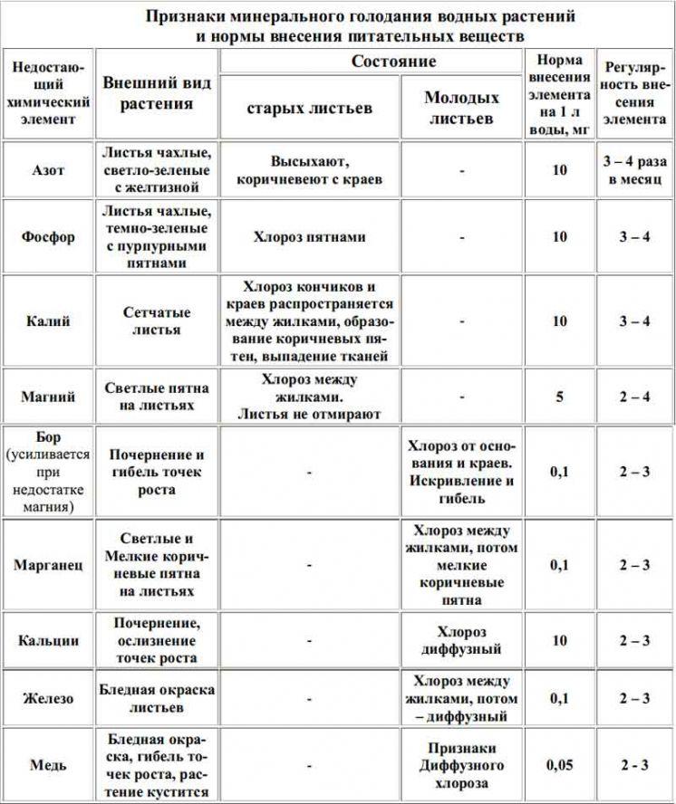 Таблица признаки минерального голодания у аквариумных растений