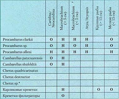 Таблица совместимости рыб и креветок