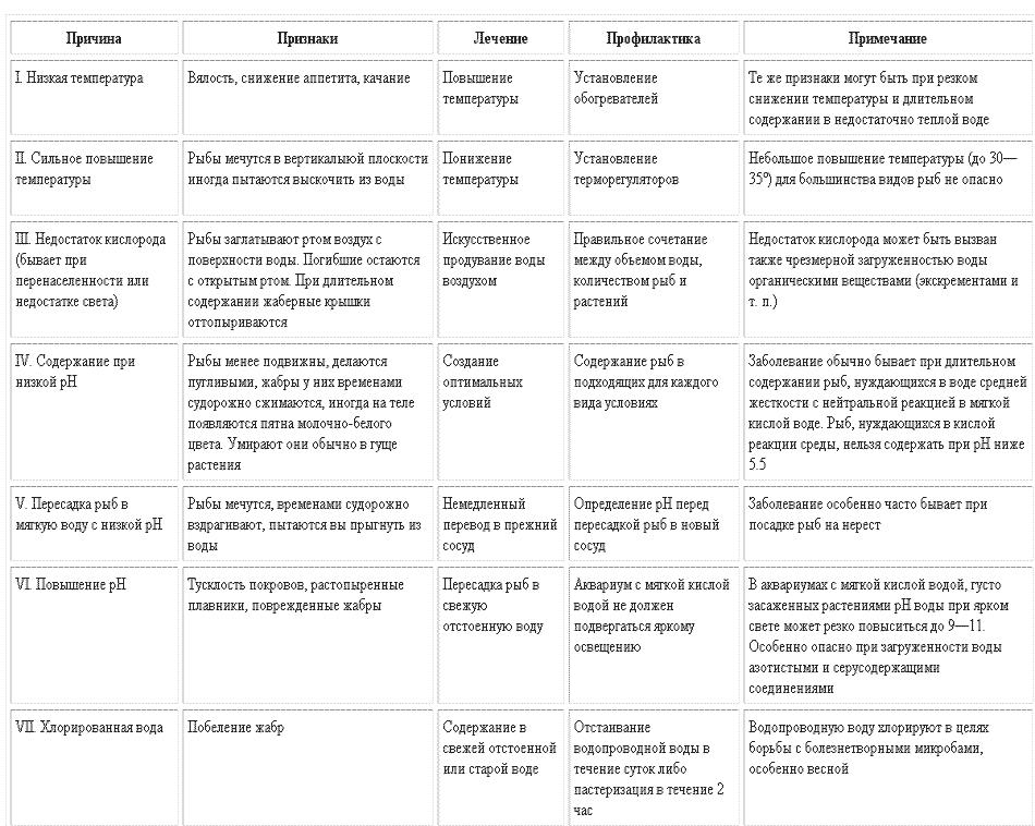Таблица заболеваний рыб при неправлильном содержании лечение